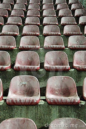 Free Old Red Stadium Chairs Stock Image - 9136451