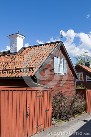 Old red buildings Sigtuna Editorial Photo