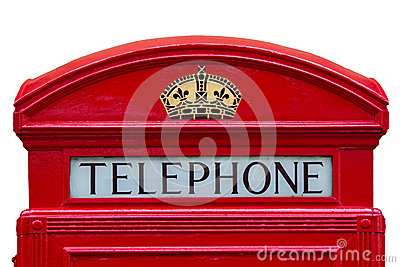 Old red telephone box with clipping path