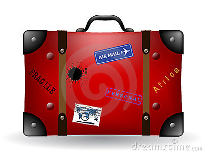 Old red travel suitcase illustration