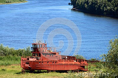 Old red tugboat