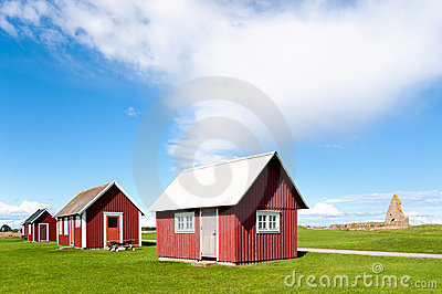 Old red wooden cottages, Sweden