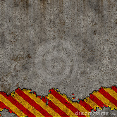Old Red and Yellow Hazard Stripes Sign Wall