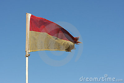 Old Red and Yellow Lifeguard flag