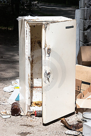 Old Refrigerator At The Dump Stock Photography Image