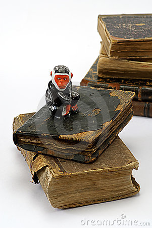 Old religious books and monkey