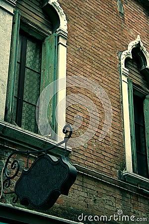 Old restaurant BLANK sign in Venice