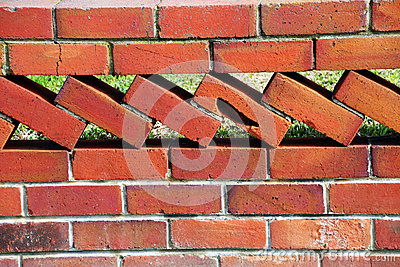 Old Retro Brick Wall Fence
