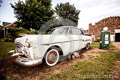 Old retro car on the Route 66