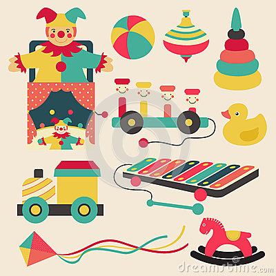 Free Old Retro Kid Toys And Circus Carnivals Object Flat Icon Design Stock Images - 67073254