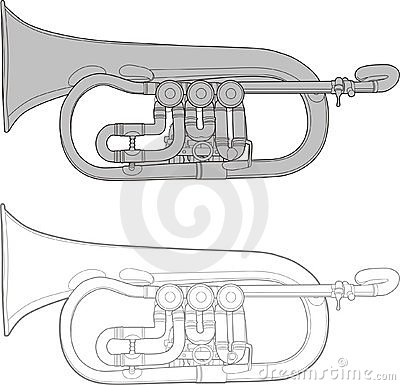 Old retro-styled trumpet