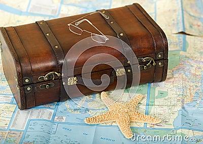 Old Retro Suitcase, Map, Starfish