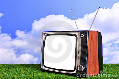 Old retro TV outdoors