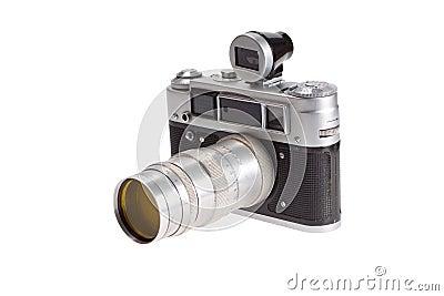 Old retro vintage rangefinder camera