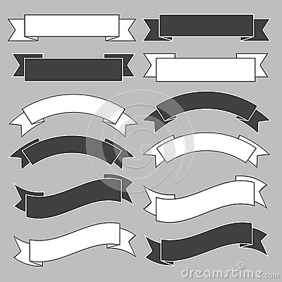 Free Old Ribbon Banner ,black And White. Royalty Free Stock Photo - 29647195