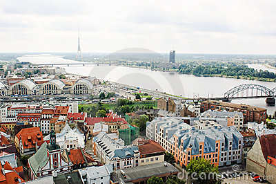 Old Riga and Daugava river, Latvia