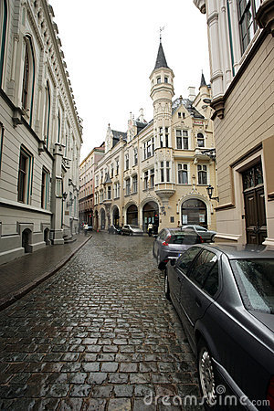 Old Riga street, Latvia.