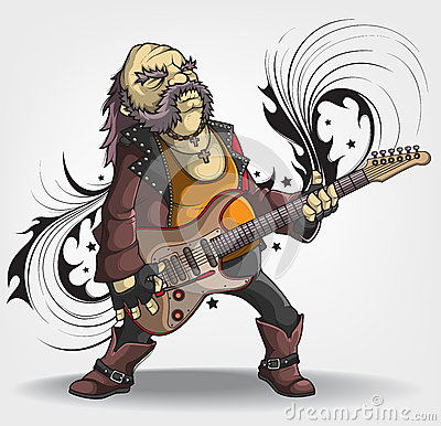 Old rock musician with a guitar