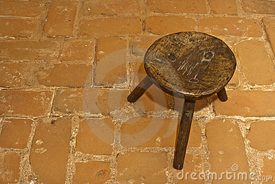 Old romanian traditional wooden stool