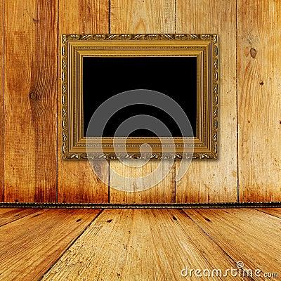 Old room, grunge  interior with frame