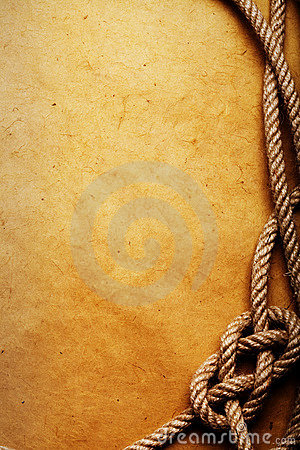 Free Old Rope And Knot On Paper Royalty Free Stock Photo - 5002025