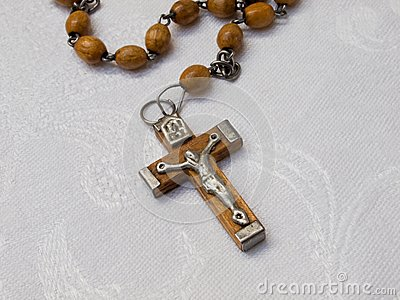 Old rosary with wooden beads, detail, 2