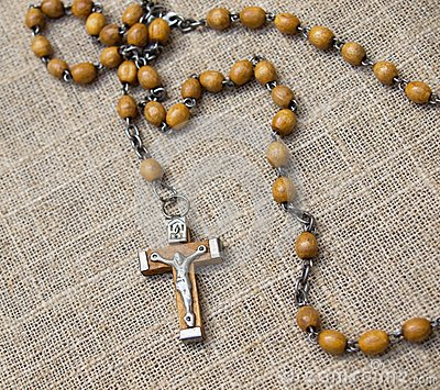 Old rosary with wooden beads, 2