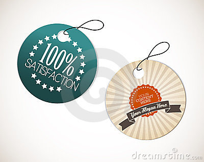 Old round retro vintage grunge tags