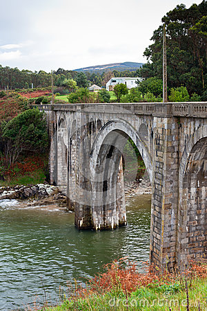 Old Rural Railroad viaduct at Northern Spain.