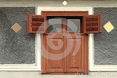 Old rural wooden house window