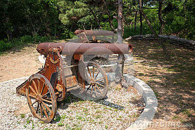 Old Russian cannons on wheels
