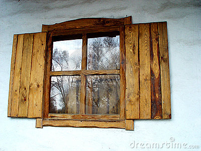 Old russian hand-made window