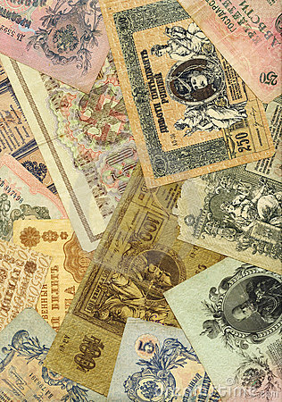 Old russian money background