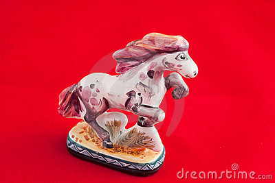 Old Russian porcelain toy: horse