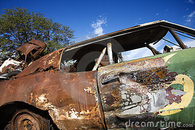 Old rusted car.