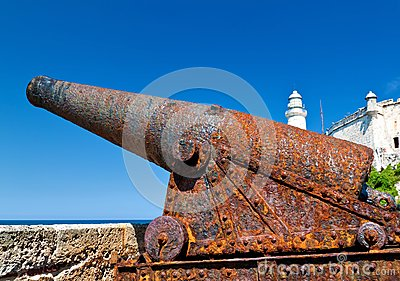 An old rusty cannon in the castle of El Morro in H