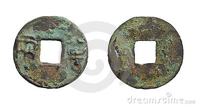 Old rusty chinese coin of Qin Dynasty