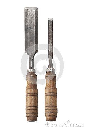 Old rusty chisel isolated on white background. Stock Photo