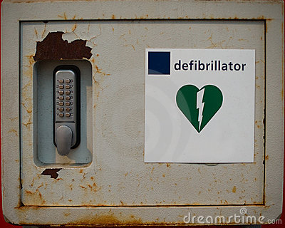 Old rusty defibrillator