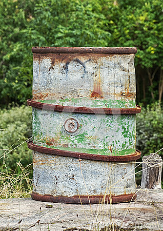 Old rusty fuel barrel.