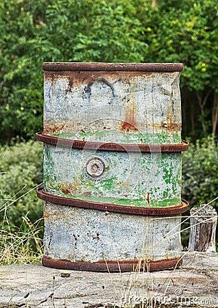 Old rusty fuel barrel.