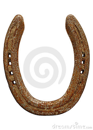 Old rusty lucky horseshoe isolated over white.