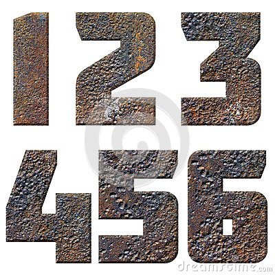 Old rusty metal english alphabet, numbers and signs