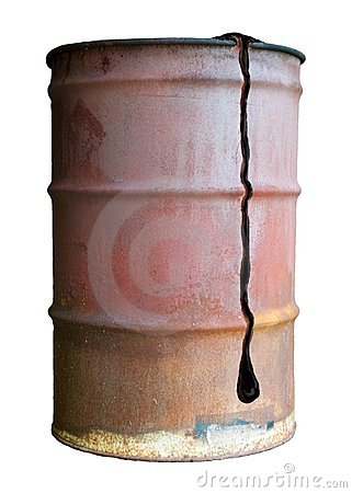 Old Rusty Oil Barrel Can Isolated Dripping Leaking