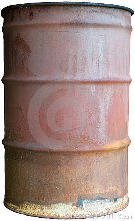 Old Rusty Oil Barrel Isolated 55 Gallon Drum Can