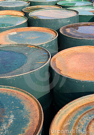 Old rusty oil drums