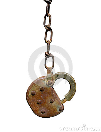 Old rusty padlock and chain isolated