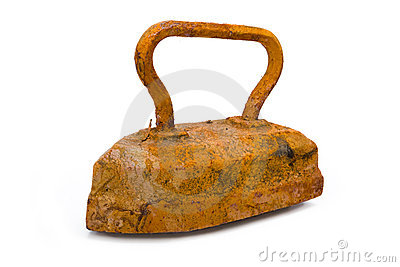 Old rusty pig-iron iron