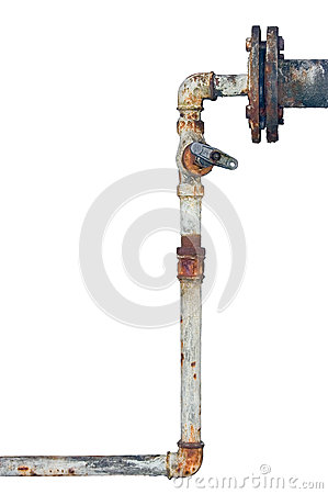 Free Old Rusty Pipes, Aged Weathered Isolated Grunge Iron Vertical Pipeline, Plumbing Connection Joints With Industrial Tap Fittings Royalty Free Stock Images - 61200949