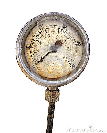 Free Old Rusty Round Industrial Pressure Gauge With Numbers Round The Dial Isolated On White Stock Image - 114136691